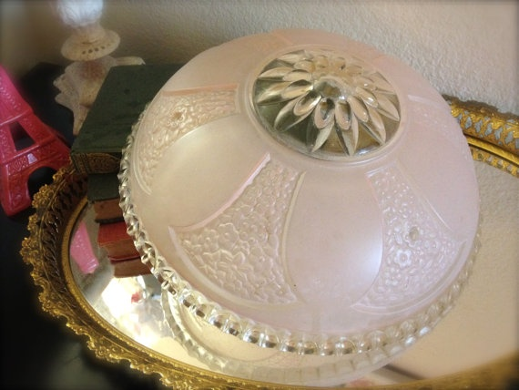 Vintage PINK Scalloped Edge Glass Ceiling Light Fixture Cover 1950s #vintage  #pink For Sale