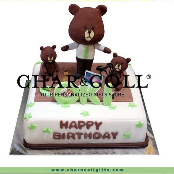 Size 24 cm double chocolate flavor covered in white fondant icing, and complete with cute 3d icing line brown character with green tie and white shirt. It's made from scratch and are not using preservatives and artificial flavourings. Design can be customized with your birthday theme.  Order now : www.charncollgifts.com | 021-7197234 #Birthday #BirthdayCake #Cake #Line #LineIndonesia #Brown #Favorite #Fresh