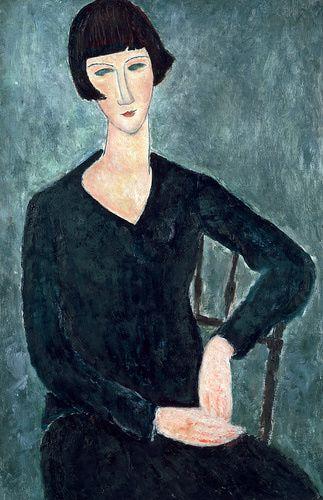 Amedeo Modigliani (Italian, 1884-1920). Seated Woman in Blue Dress, 1918. Oil on canvas. 92 x 60 cm (36 1/4 x 23 5/8 in.).