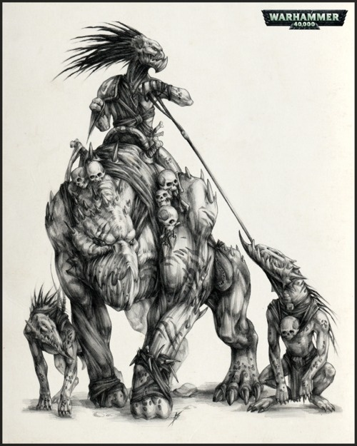 Tau Empire kroot warrior riding a krootox, with a pair of kroot hounds Warhammer universe