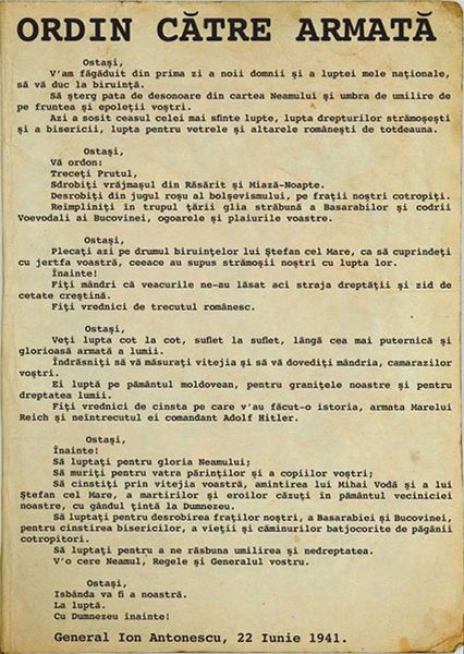"Antonescu's order to cross the Prut river and ""liberate Eastern Moldavia from Russian occupation"", 22 June 1941. The Romanian contribution of troops was enormous. The total number of troops involved in the Romanian Third Army and the Romanian Fourth Army was second only to Nazi Germany itself. The Romanian Army had a total of 686,258 men under arms in the summer of 1941 and a total of 1,224,691 men in the summer of 1944."