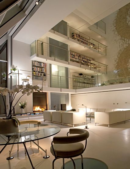 Beautiful cliff side villa: Living Rooms, Home Libraries, Home Interiors, Norman Foster, Design Interiors, Interiors Design, High Ceilings, Architecture Digest, Interiors Ideas
