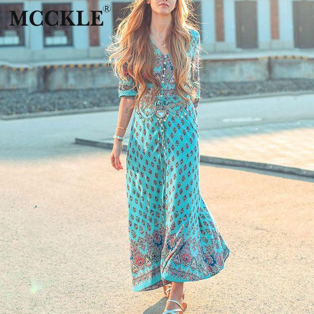 Mcckle Summer Beach Maxi Sukienka Koronki Z Długim Rękawem Floral Czeska Sukienki damskie Kobiet v Neck Wydrukuj Vintage Kobieta Przycisk Vestido