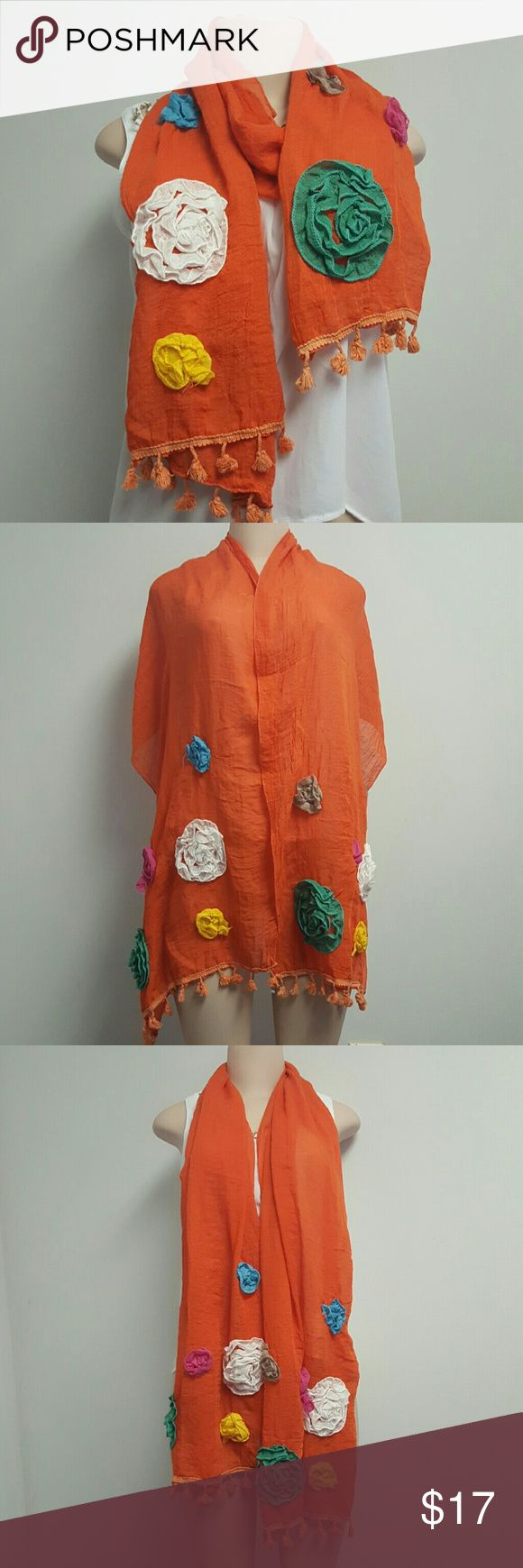VINTAGE style orange embroidered scarf w/ flowers VINTAGE style orange embroidered scarf with colorful accent flowers. Tassles hanging at the bottom.  Boho / Boheme style. Accessories Scarves & Wraps