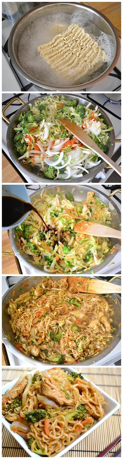 Chicken Yakisoba Ingredients:  ½ head green cabbage 1 medium yellow onion 2 medium carrots 1 small crown broccoli 2 inches fresh ginger 1 large chicken breast 2 Tbsp vegetable oil 2 (3 oz.) packages ramen noodles seasoning packets discarded  1 tsp sesame oil (optional)  ¼ cup soy sauce  ¼ cup worcestershire sauce  2 Tbsp ketchup (up to) 1 Tbsp sriracha hot sauce  1 Tbsp sugar