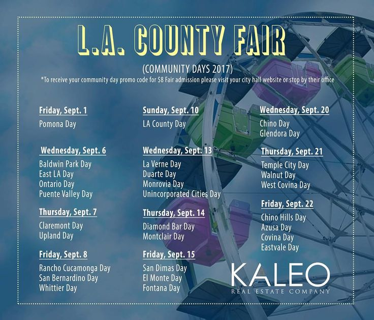 What is your favorite part about the fair? The concerts food games rides? Here is info for your Community Day! #lacountyfair #fair #la #kaleorealestate #glendora #sandimas #laverne #claremont #upland #pomona #fairplex #rides #games #concert #fun #realtor #realestate