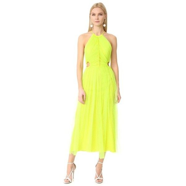 Jason Wu Lace Cocktail Dress (10,650 ILS) ❤ liked on Polyvore featuring dresses, neon yellow, side cut out dress, side cutout dresses, neon dress, lace maxi dress and neon cocktail dresses