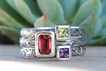 stackable birthstone rings - want something like this for the girls' birthdays and our anniversary