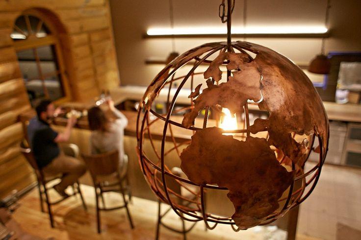 copper globe hanging lamp, globe light, pendant, shade, earth light, 60 cm diameter