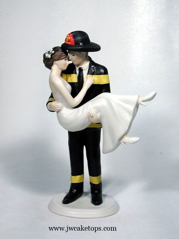 Swept Up In His Arms Black Gear Wedding Cake Top