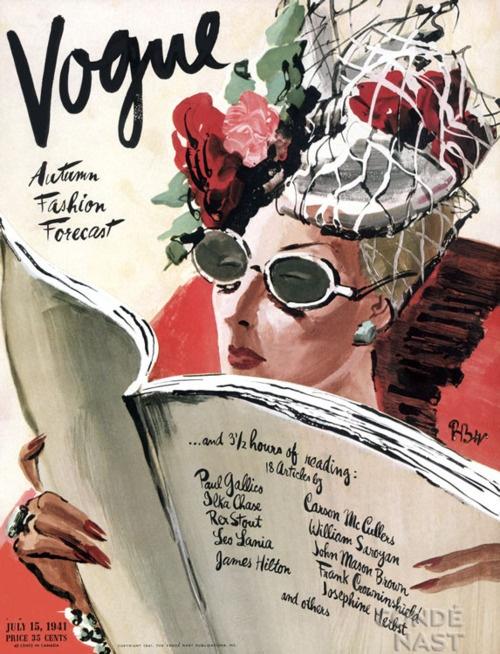 #houseofillustration | Vogue: René Bouét Willaumez, Vintage Illustrations, Vintagevogue, Art, Vogue Magazines, July 1941, Vintage Vogue Covers, Magazines Covers, Fashion Illustrations