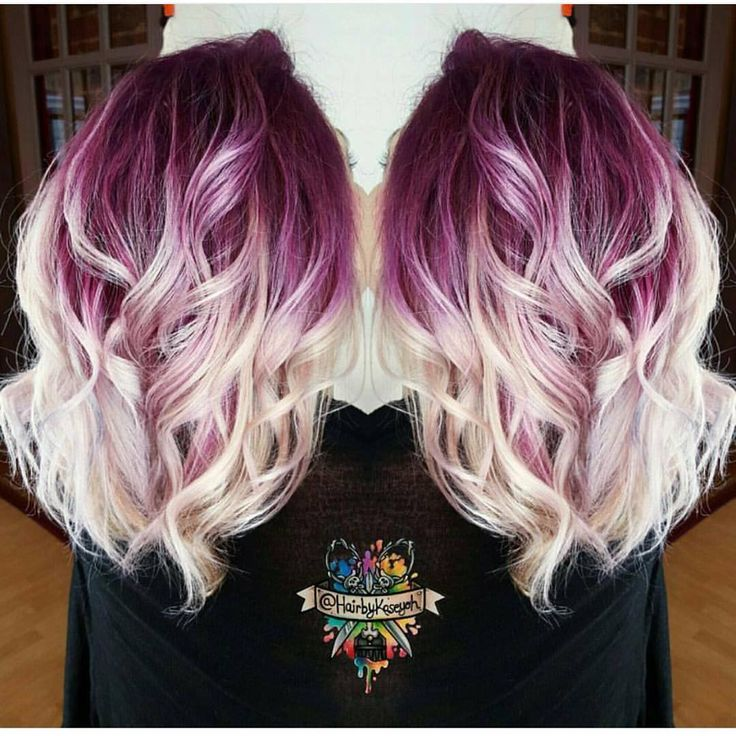 """Gorgeous deep lilac shadow root with vanilla white blonde shafts and ends by @hairbykaseyoh #hotonbeauty"""