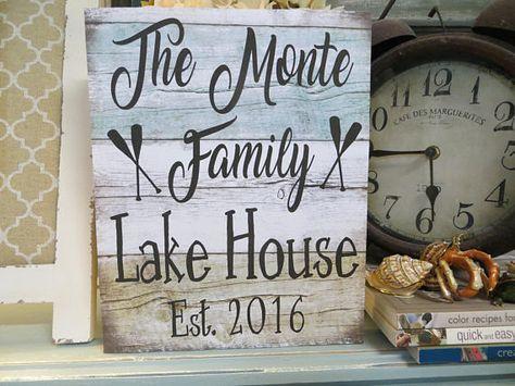 Wood Lake Sign Lake House Decor Personalized Lake House