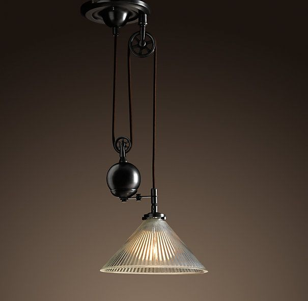 Industrial Pulley Single Pendant By Restoration Hardware