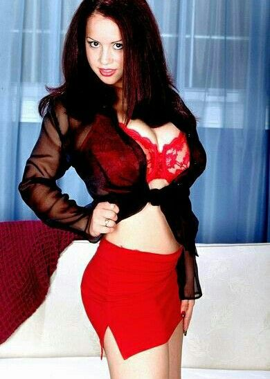 Sharday - dark chiffon blouse and red bra