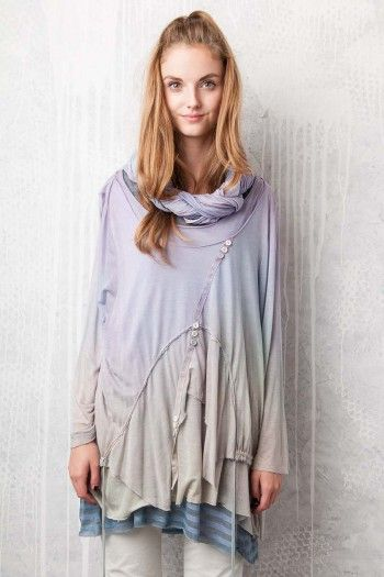 Asymmetric double top. By Adéla Urbanová Fancy and colorful designed story. Handmade coloured, dyed and printed items.