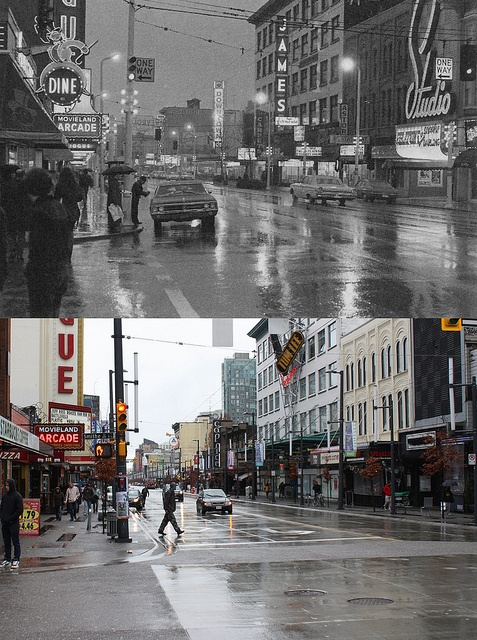 Vancouver Then and Now, Granville at Smithe - 1972/2012 by entheos_fog, via Flickr