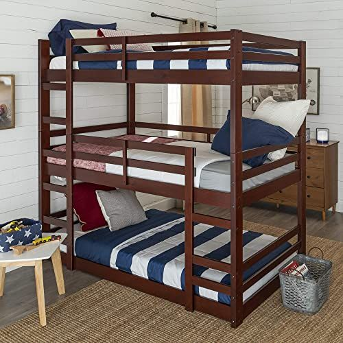 The We Furniture Azw3totes Triple Bunk Bed Espresso Online Shopping In 2020 Bunk Beds Low Loft Beds Cool Bunk Beds