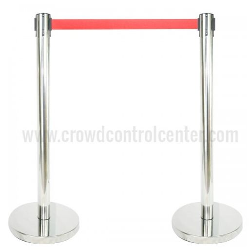 Buy Economy Version in Mirror Polished Stainless Steel Retractable Belt Stanchion from CrowdControlCenter, A big Crowd Control Retractable Safety Barrier and Stanchions Warehouse.