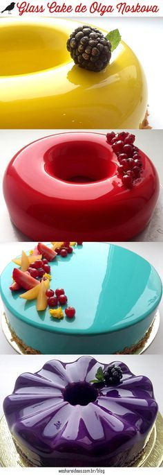 Bolos de Vidro de Olga Noskova, também conhecidos como Mirror cake ou Glass Cake.