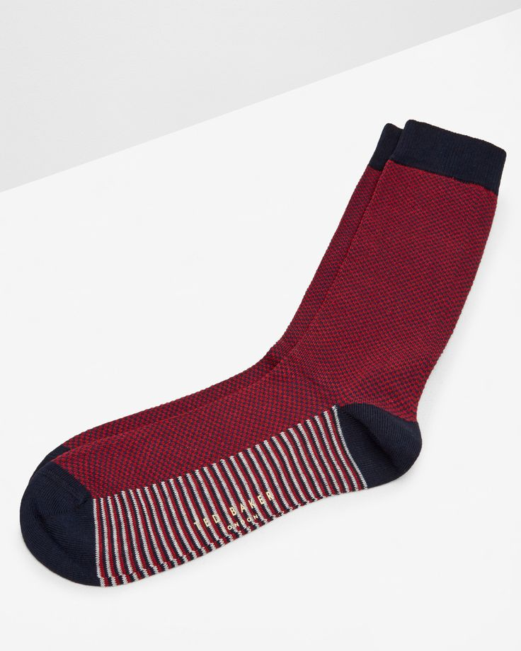Contrast striped socks - Red | Socks | Ted Baker ROW