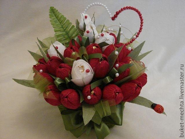 Купить Букеты из конфет-Весенняя романтика - бордовый, подарок, сувенир, подарок на день рождения