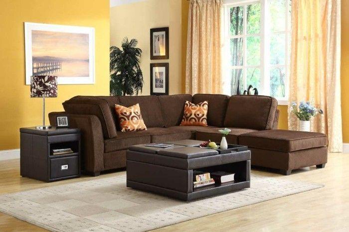 Home furnishings living room yellow wall color Brown corner sofa plant