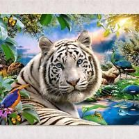 DIY 5D Diamond Painting White Tiger Round Diamonds Cross Stitch Home Decor Craft