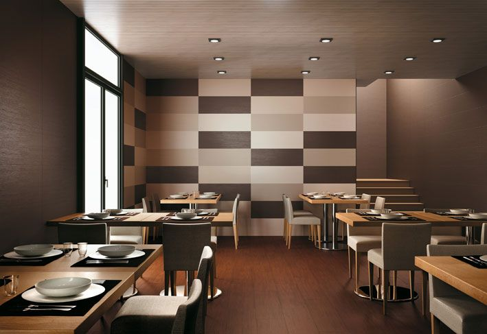 Interior Design, Restaurant Plates Bowl Dining Tables Dining Chairs Table Mat Cutlery Set Neutral Ceramic Brick Tile Effect Laminate Floor Ceiling Lamps Modern Ceiling Glass Door Stairs Brown Wall And Clean ~ Wonderful Ceramic Interior On The Floor Design
