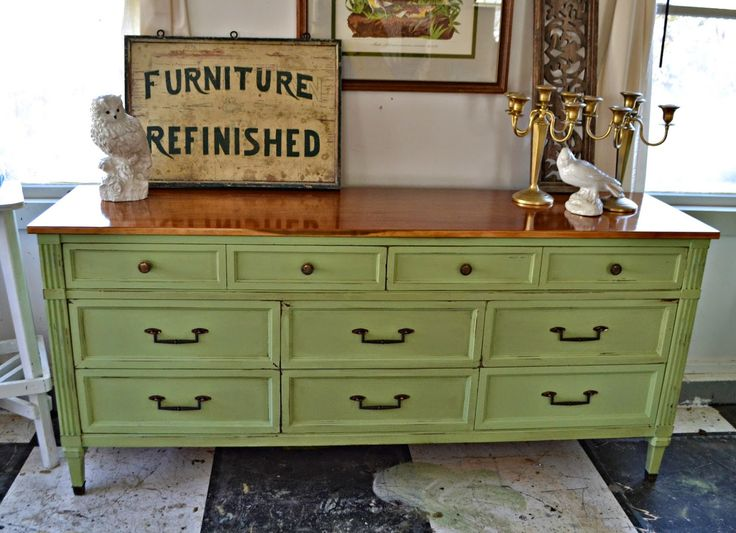 green painted French Provincial side board chest