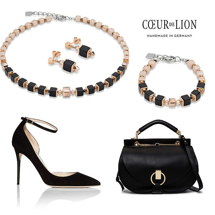Timeless yet modern, these pieces work in every wardrobe. Coeur de Lion Geo Cube rose gold Swarovski® Crystals, black and ivory coloured set, Jimmy Choo Shoes and Chloé handbag.