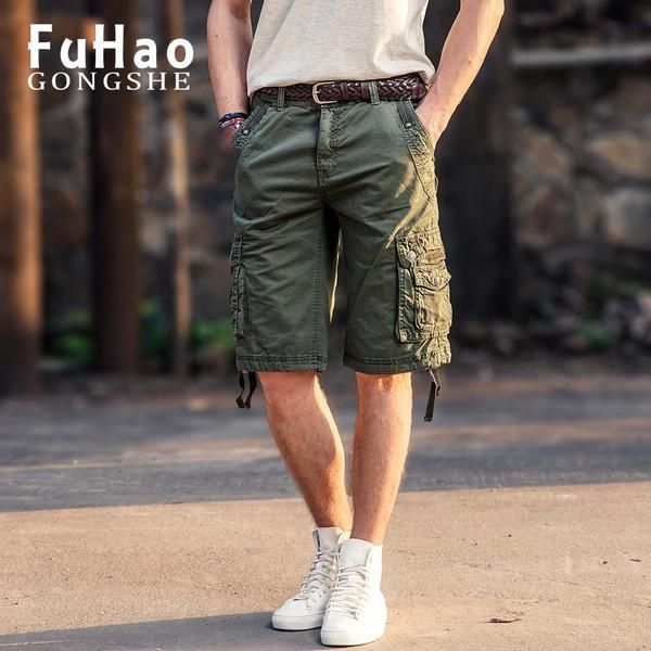 FuzWeb:Summer Men's Army Cargo Shorts Men Military Shorts Workout Shorts Homme Casual Bermuda Trousers plus size Working trousers
