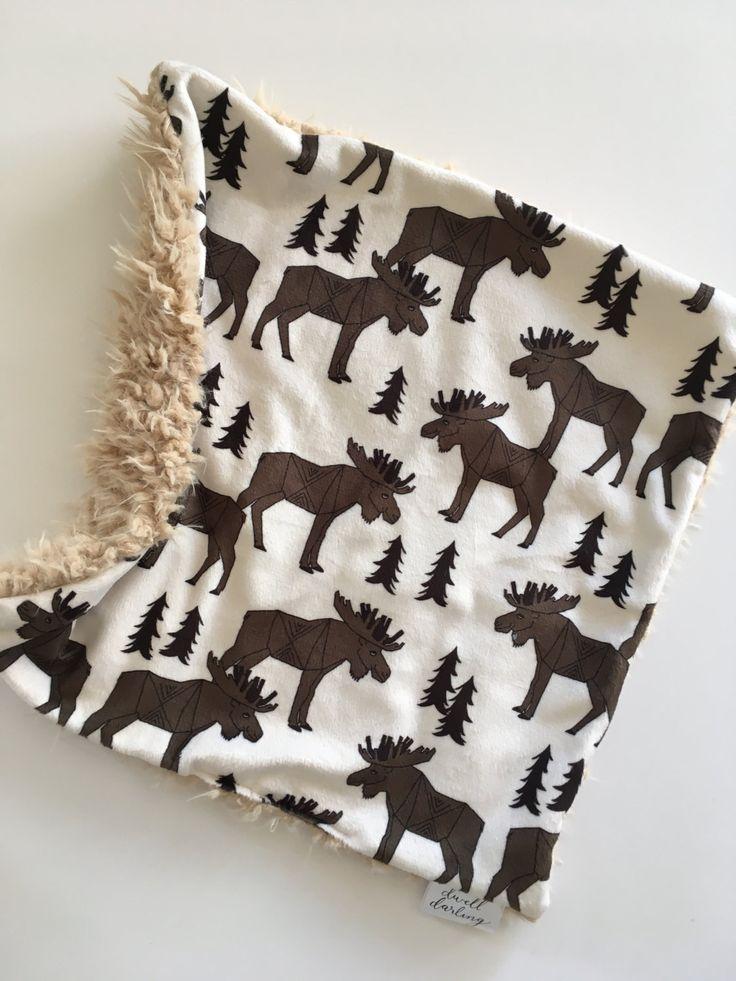 Moose lovey, Forest Animal Baby lovey security Blanket, minky Baby Blanket, Woodland Nursery, Forest Nursery, bear moose Baby Shower g by DwellDarling on Etsy