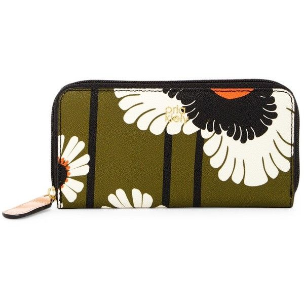 Orla Kiely Textured Vinyl Poppies & Daisies Print Big Zip Wallet (€60) ❤ liked on Polyvore featuring bags, wallets, olive, olive bag, orla kiely wallet, vinyl zipper bags, poppy bag and vinyl bag