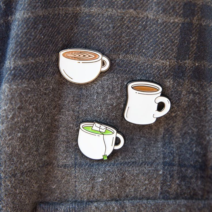 The Caffeine Pack - Get your caffeine fix with these enamel pins of a cup of Coffee, Latte, and Green Tea / matcha