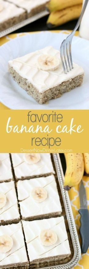 Favorite Banana Sheet Cake Dessert Recipe via Dessert Now, Dinner Later - This is the BEST banana cake topped with the BEST cream cheese frosting! Perfect for picnics and potlucks, this banana sheet cake is a crowd pleaser! Everyone asks for the recipe! The Best EASY Sheet Cakes Recipes - Simple and Quick Party Crowds Desserts for Holidays, Special Occasions and Family Celebrations