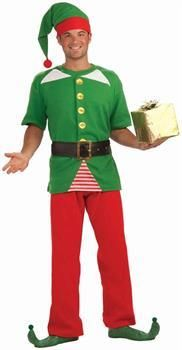 Men's Jolly Christmas Elf Costume Adult - One Size Fits Most
