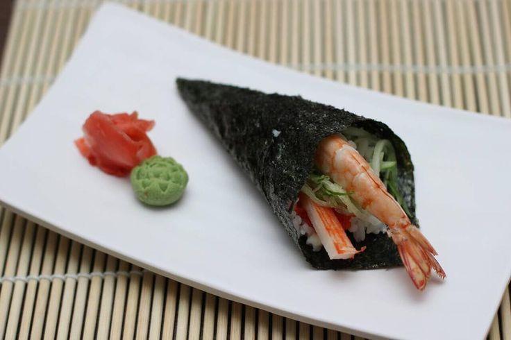 California Hand Roll . Temaki (手巻 hand rolls) is a cone-shaped ...