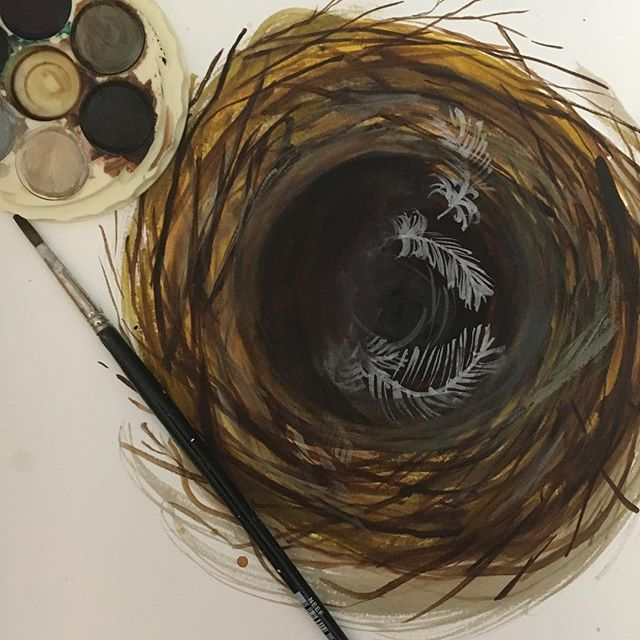 A new watercolour nest painting using Micador paints by Andrea Hamann of Strongsoutherlyart