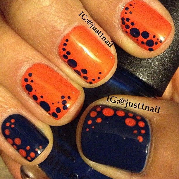 Orange and black dotted mani