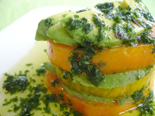 Heirloom Tomato Stacks with Avocado and Cilantro Infused Oil - Raw & Vegan