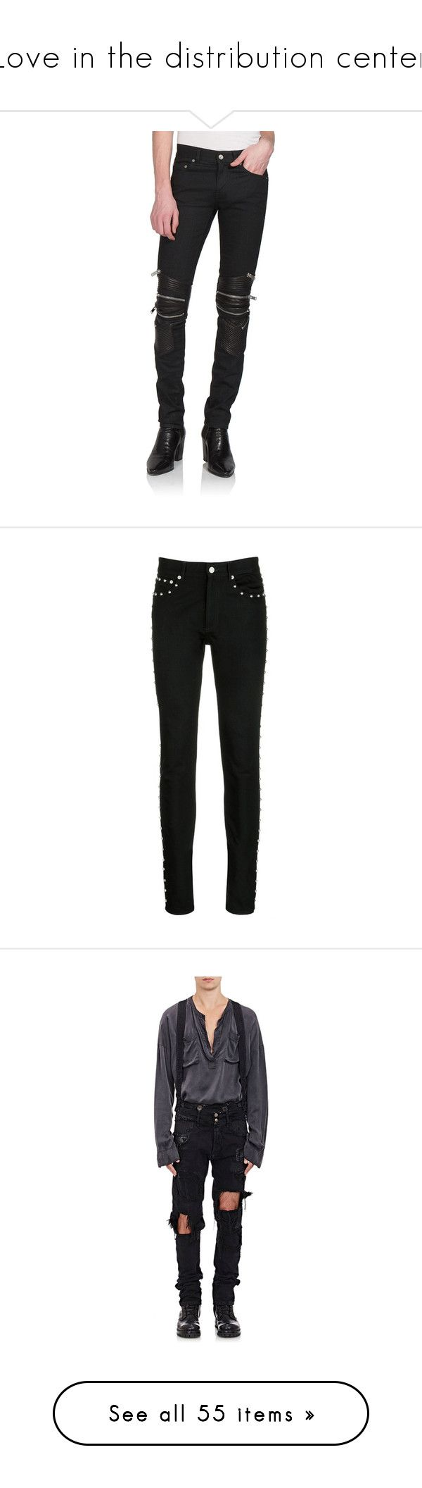 """Love in the distribution center"" by t9jch ❤ liked on Polyvore featuring men's fashion, men's clothing, men's jeans, apparel & accessories, black, mens leather skinny jeans, mens leather jeans, mens studded jeans, mens rock and roll jeans and mens jumpsuit"