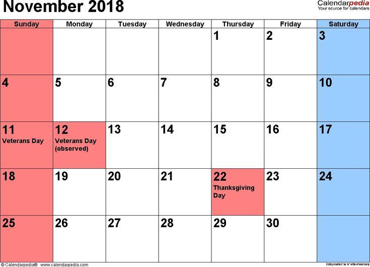 Free November Calendar Holidays November Calendar Pinterest