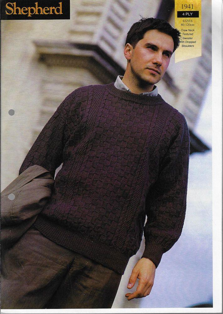 Men's Textured Sweater Shepherd 1941 knitting pattern 4 ply yarn jumper #Shepherd