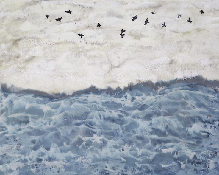 11 x 14 Choppy Waters Original Encaustic Painting by BeesNTreesEncaustics on Etsy