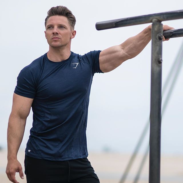 At the top of your game. Steve Cook rocking the Apex T-Shirt in sapphire blue.
