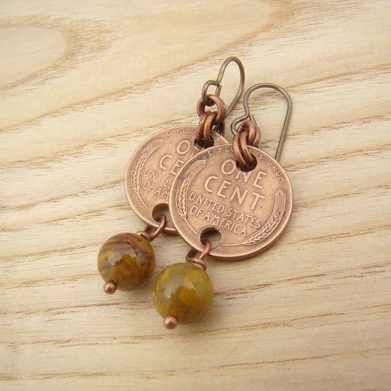 US wheat penny earrings coin jewelry bamboo by laurelmoonjewelry, $14.00