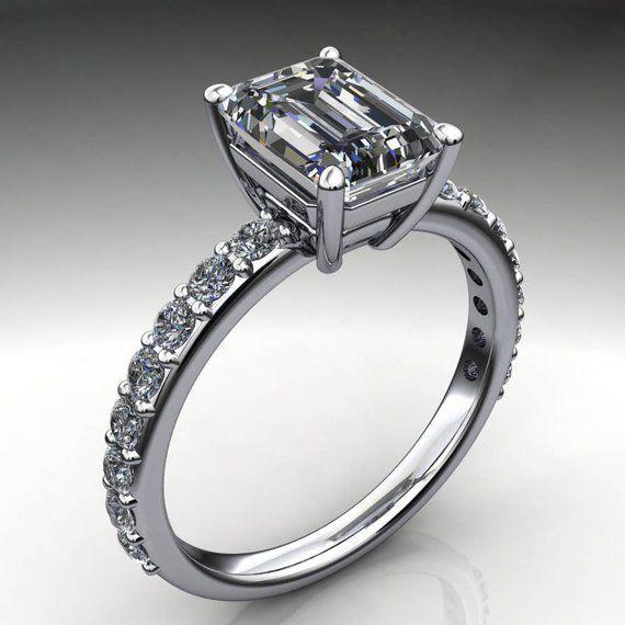e9e7707226d432 sage ring – 1.75 carat emerald cut moissanite engagement ring, emerald  moissanite