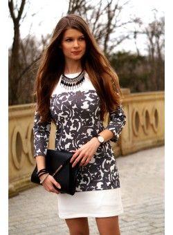 Bardzo elegancka biało-czarna trapezowa sukienka.  155 zł  www.illuminate.pl