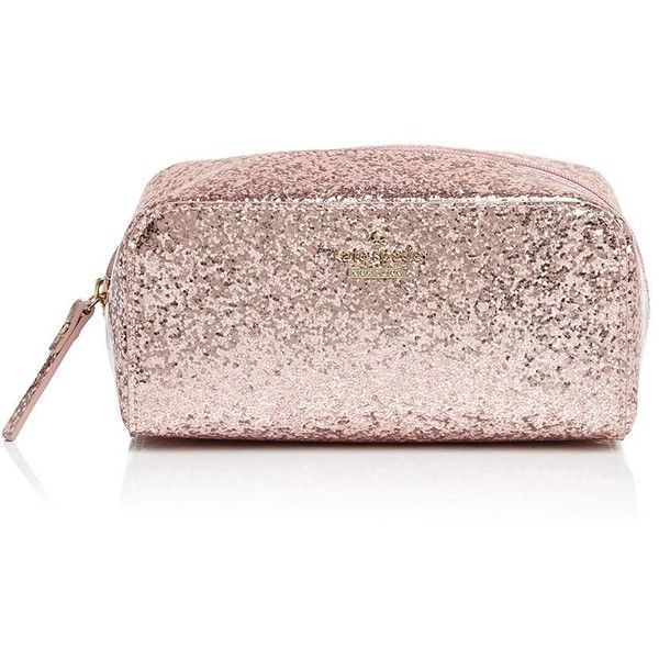 kate spade new york Glitter Bug Ezra Cosmetic Case ($36) ❤ liked on Polyvore featuring beauty products, beauty accessories, bags & cases, rose, kate spade makeup bag, toiletry kits, kate spade, make up bag and cosmetic bags & cases